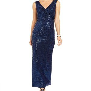 Betsy & Adam  Allover Sequin Draped Gown